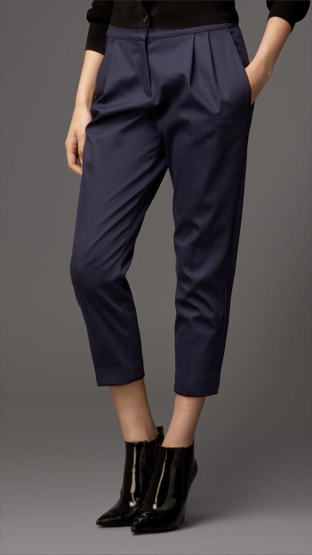Burberry Satin High-Waist Cropped Pants