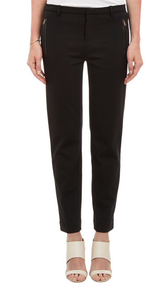 Vince Leather-Trimmed Ponte Slim Pants