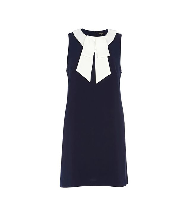 River Island Navy Pussy Bow Shift Dress