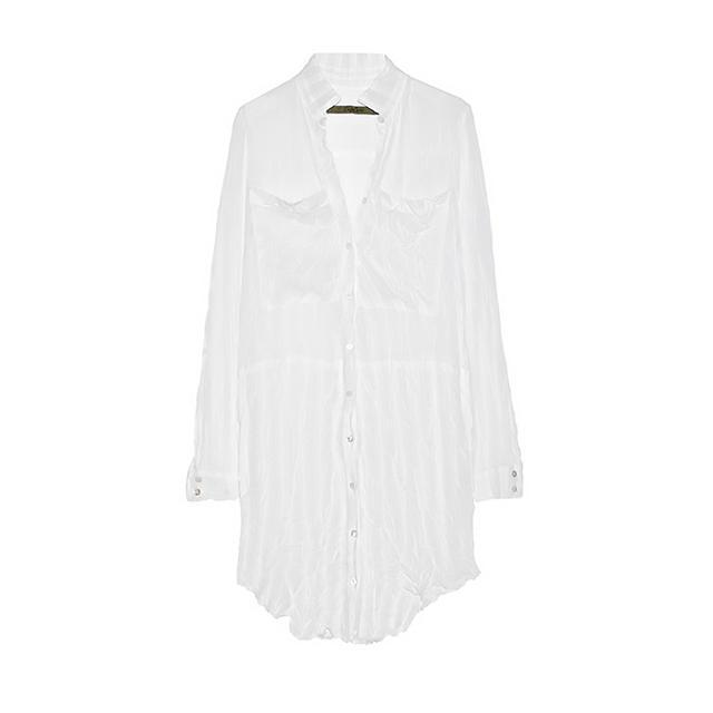 Enza Costa Crinkled Chiffon Shirt Dress