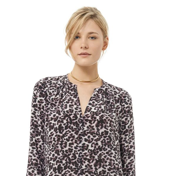 Rebecca Taylor Long Sleeve Lynx Print Blouse
