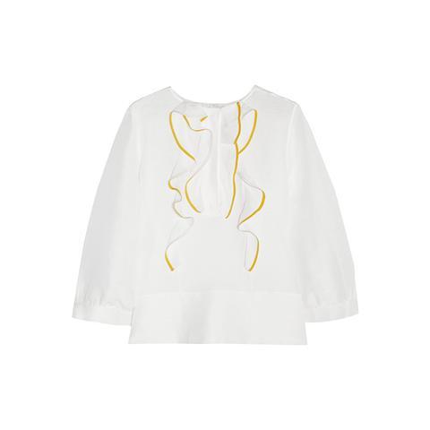 Ruffled Linen and Silk-Blend Top