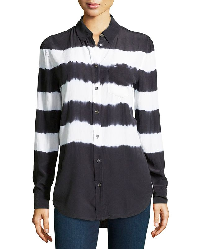 Equipment Long-Sleeve Striped Georgette Blouse