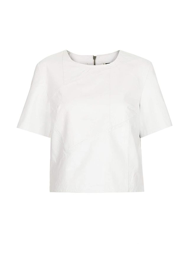 Topshop Croc Leather Panelled Tee