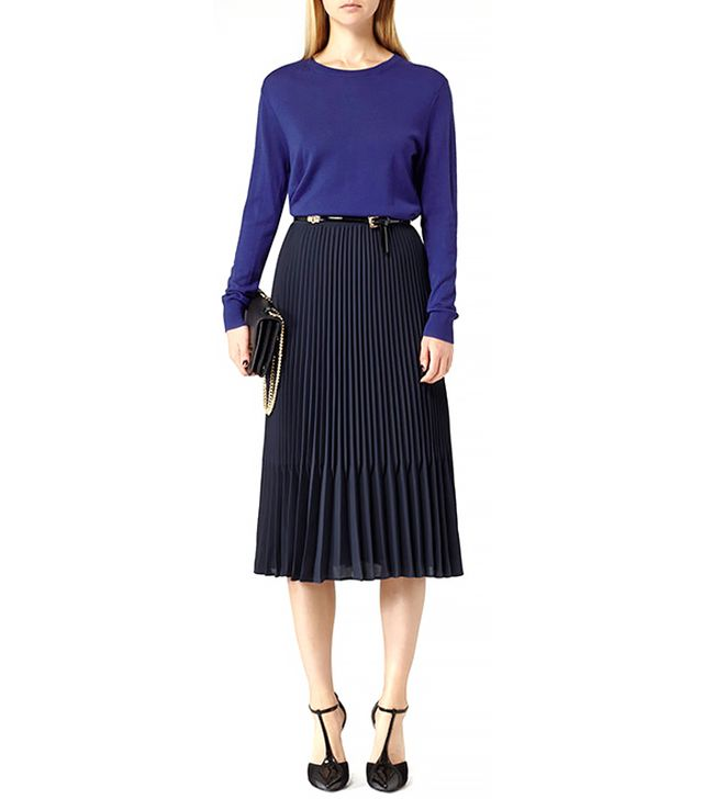 Reiss Baltimore Pleated Midi Skirt