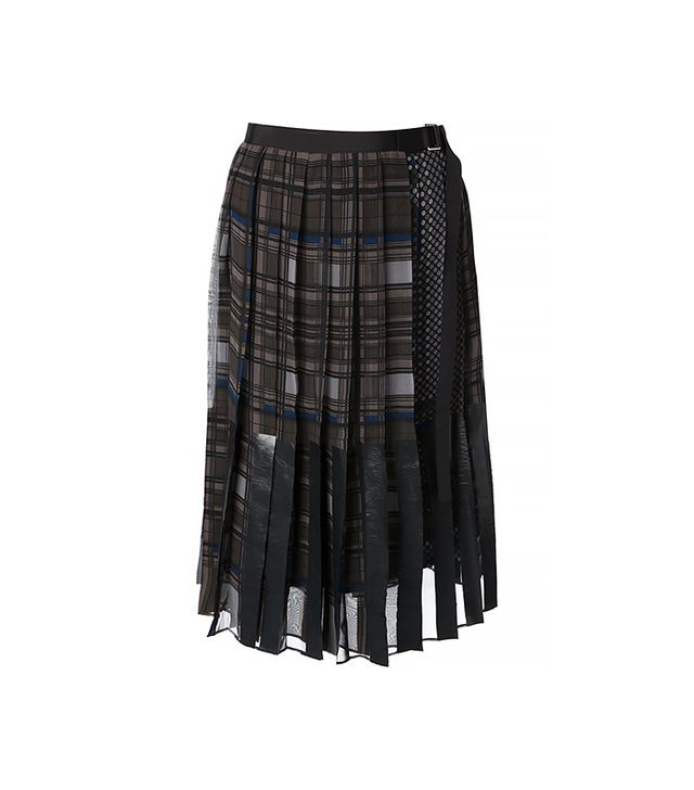 Sacai Mixed Prints Pleated Wrap Skirt