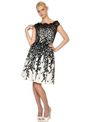 Blumarine  Cotton Macramé & Silk Faile Dress