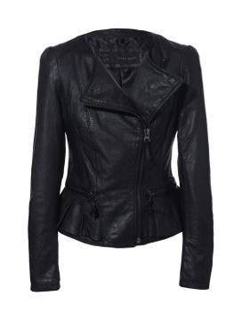 Zara Leather Jacket with Ruffle Detail