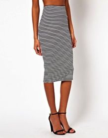 ASOS  ASOS Ponte Monochrome Stripe Pencil Skirt