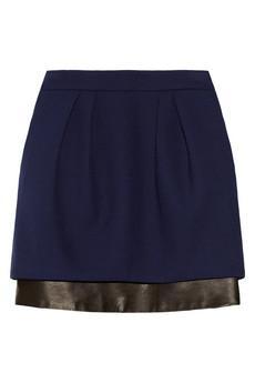 Maje Seventy Leather-Trimmed Woven Skirt