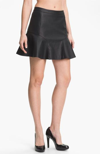 Remain  Fluted Faux Leather Skirt