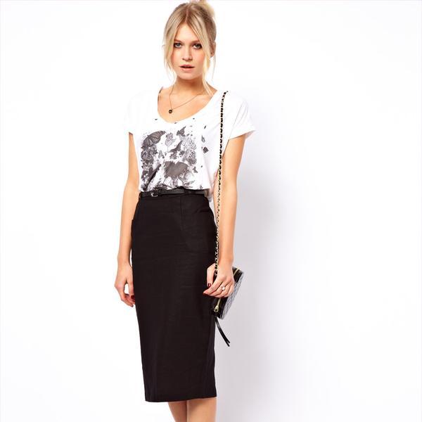 ASOS  Linen Pencil Skirt