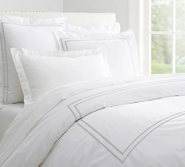 Pottery Barn Peal Embroidered Duvet Cover