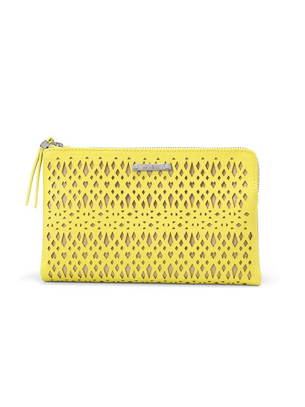 Stella & Dot Citrine Yellow Perforated Clutch