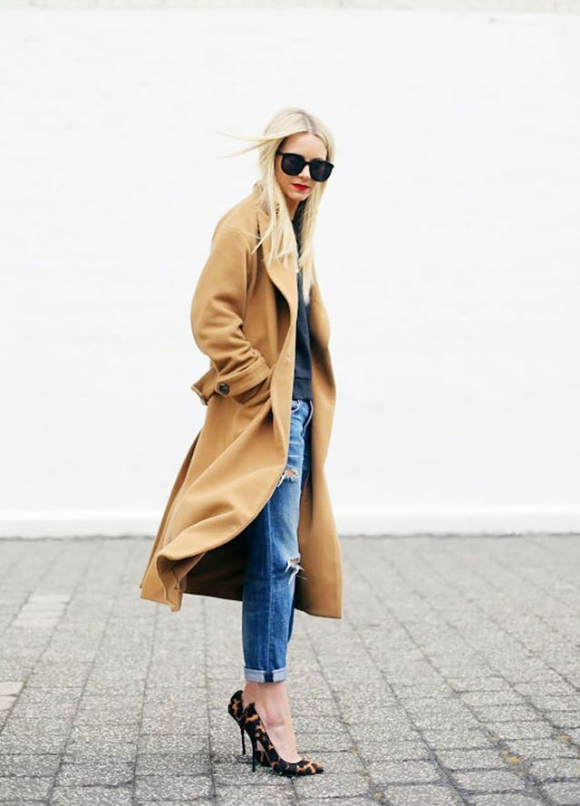 An oversized camel coat is both classic and on-trend: