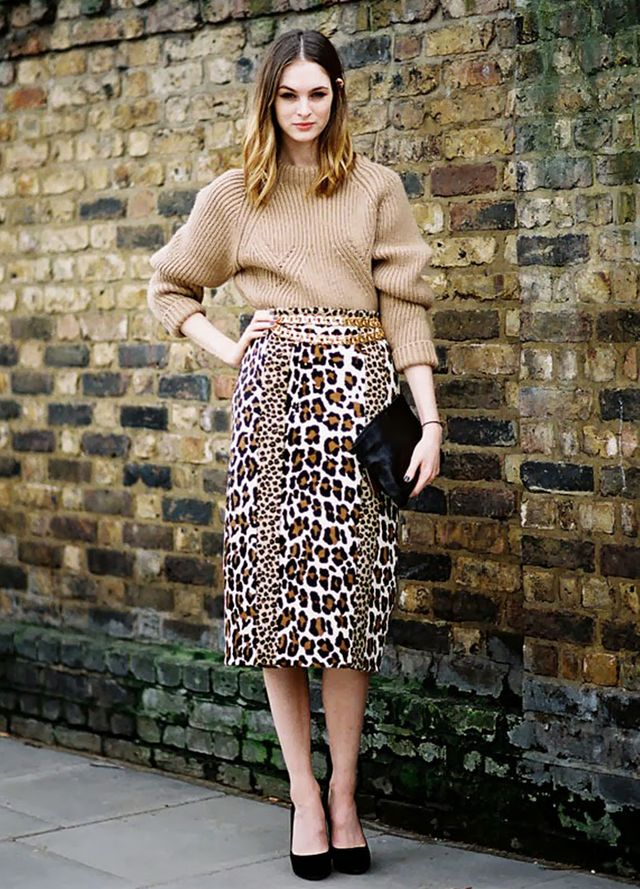 Camel pairs perfectly with animal print:
