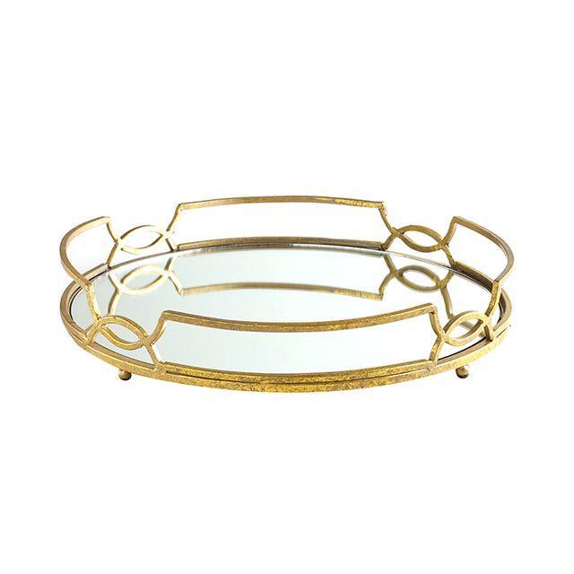 Cost Plus World Market Gold Mirrored Tabletop Tray