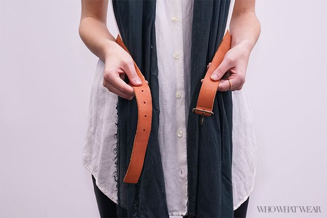 Step 1: Wrap a belt around your waist.