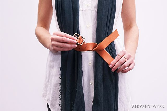 Step 2: Tie the belt in a knot.
