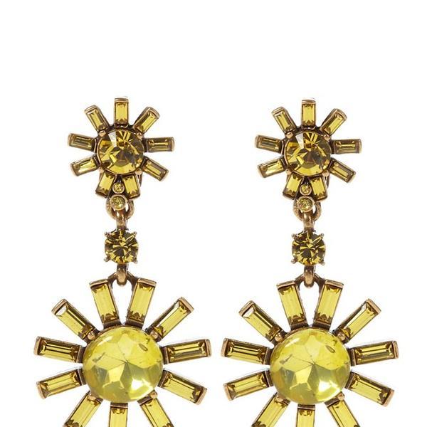 Oscar de la Renta  Swarovski Starburst Drop Clip Earrings