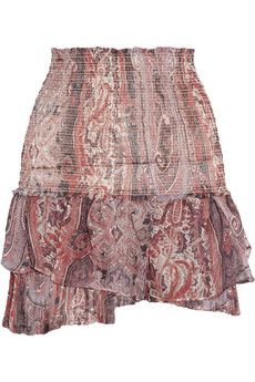 Isabel Marant Paisley-Print Silk-Gauze Mini Skirt