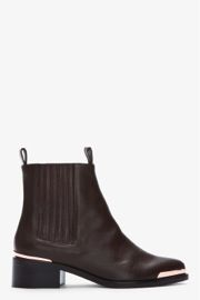 Veronique Branquihno  Chocolate Brown Rose Gold Leather Ankle Boots