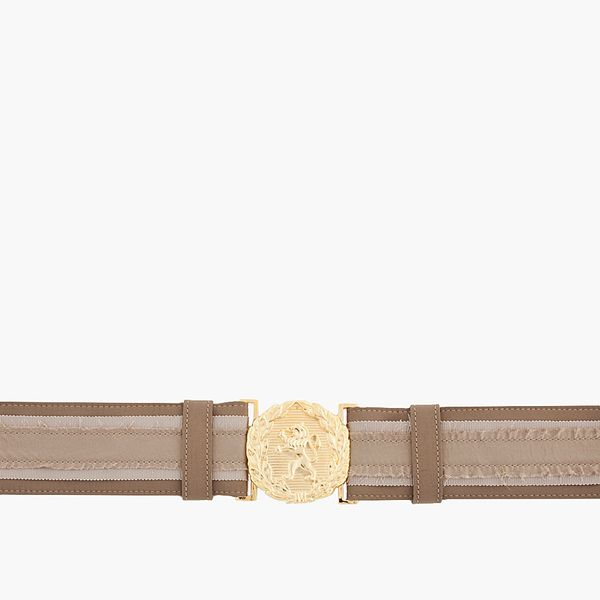 Altuzarra  Taupe and Gold Calf Leather Marley Belt