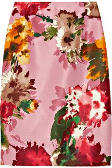 Oscar de la Renta for The Outnet  Floral-Print Silk-Twill Skirt