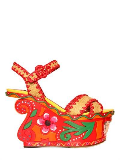Dolce & Gabbana  Raffia & Crochet Wedges
