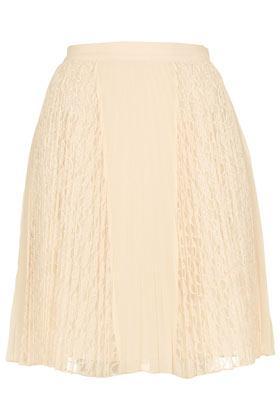 Topshop  Cream Lace Pleat Skirt