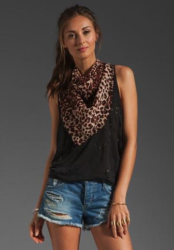 Anna Sui  Leopard Silk Chiffon Scarf