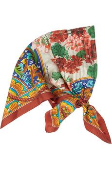 Dolce & Gabbana Floral-Print Silk-Twill Headscarf