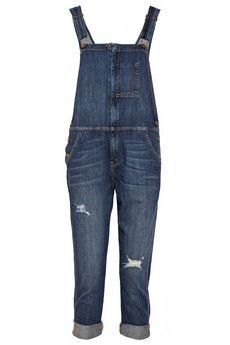 Current/Elliott The Ranch Hand Distressed Stretch Denim Overalls