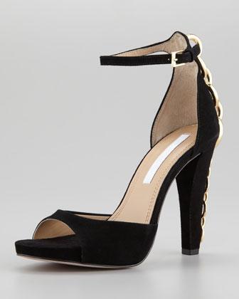 Diane von Furstenberg Sofia Chain-Back Runway Sandals