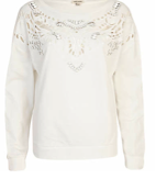 River Island White Embellished Cut Out Sweater