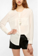 Sparkle & Fade Silky Military Button-Down Shirt