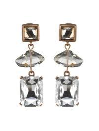 Oscar de la Renta Oscar de la Renta Geometric Crystal Bead Drop Earrings