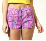 Boohoo  Mia Purple Printed Neon Aztec Denim Hotpants
