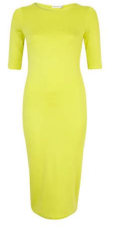 River Island Lime Half Sleeve Midi Column Dress