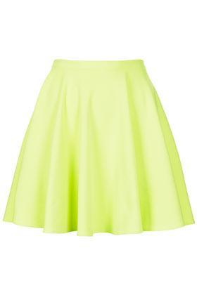 Topshop Fluro Mini Skater Skirt