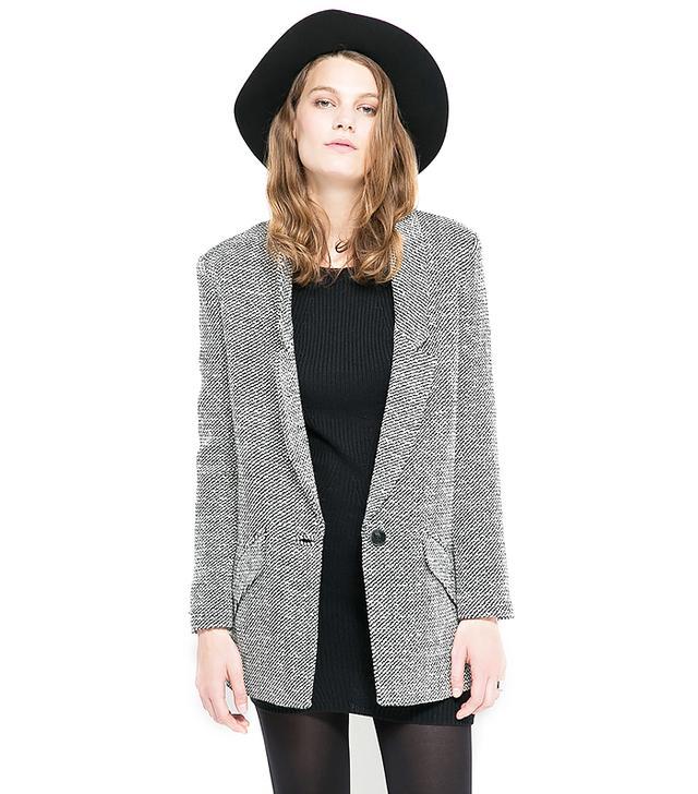 Mango Flecked-Wool Blend Blazer