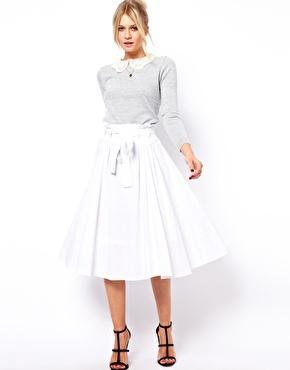 ASOS  Lined Midi Skirt with Belt