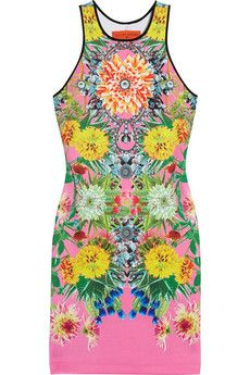 Clover Canyon Turquoise Valley Printed Stretch-Neoprene Dress