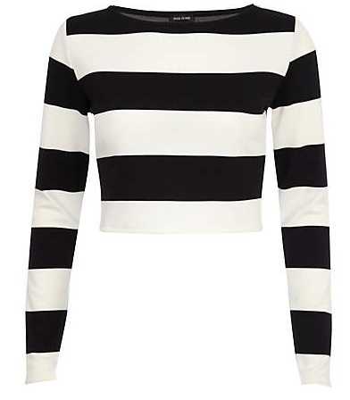 River Island Black and White Chunky Stripe Crop Top