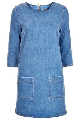 Topshop Mid Wash Denim Tunic Dress