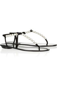 René Caovilla Faux Pearl and Crystal-Embellished Leather Sandals