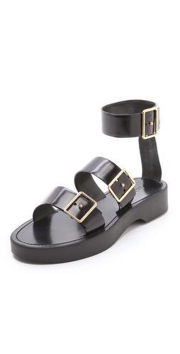 Jil Sander Black Strapped Sandals