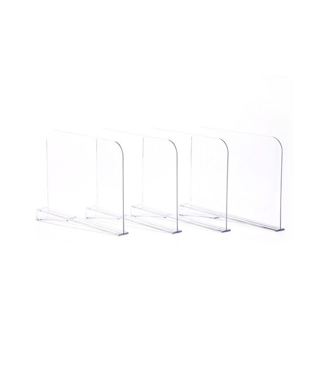 Houzz Acrylic Shelf Dividers, Clear, Set of 4