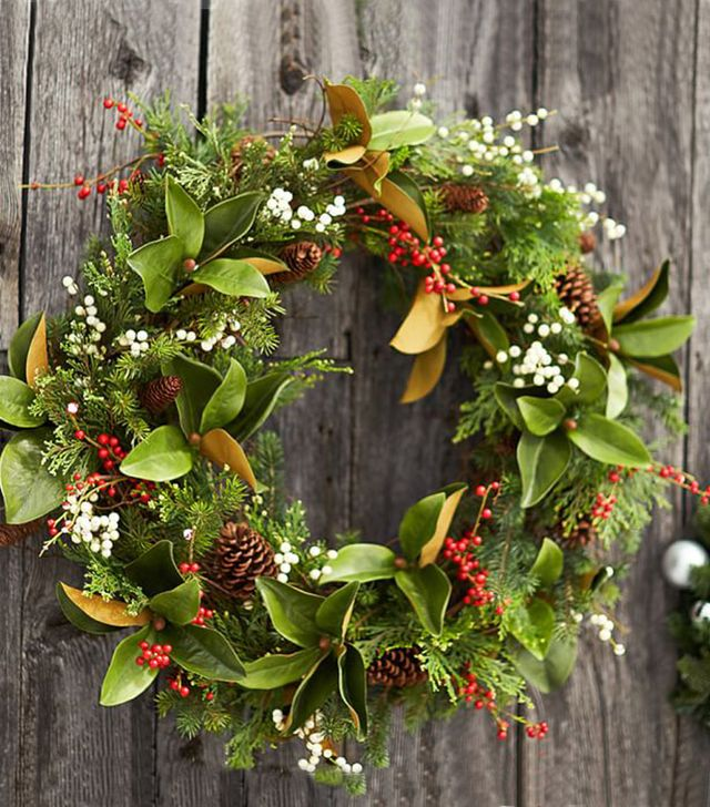 "Pottery Barn 36"" Magnolia and Berry Wreath"