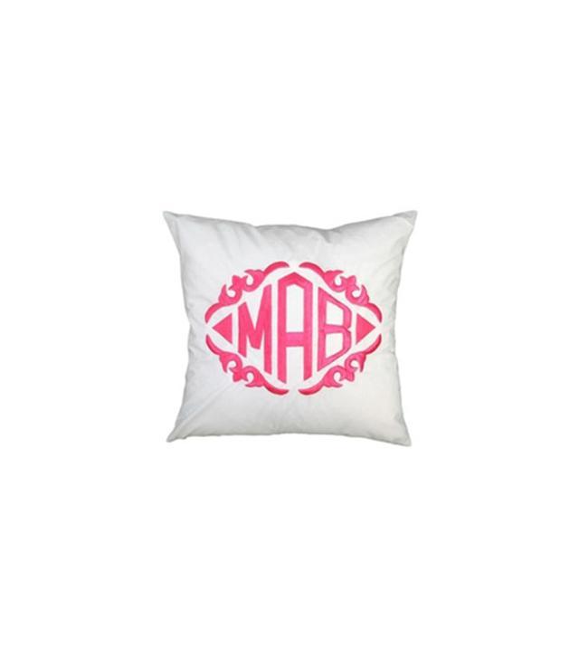Zhush Monogrammed White Throw Pillow